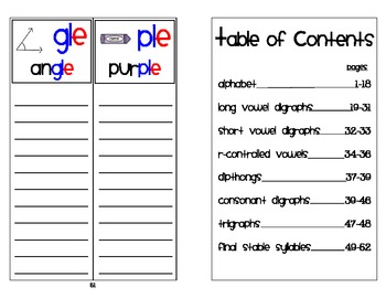 Individual Student Phonics Word Wall  Booklet