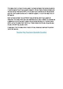 Individual Student Plan