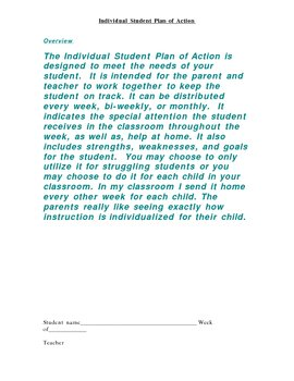 Individual Student Plan of Action