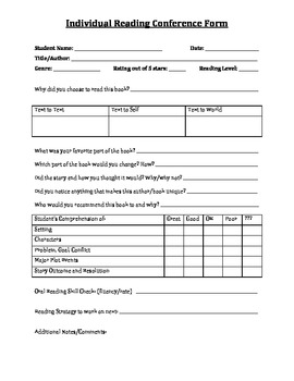 Individual Student Reading Conference Form - Teacher Fills In