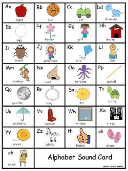 Individual Student Sound Card 8 1/2 X 11~ Alphabet Card