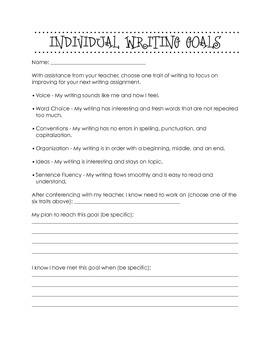 Individual Student Writing Goals - ELA