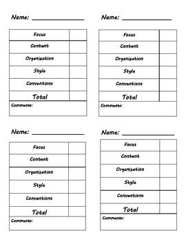 Individual Student Writing Rubric