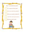 Individual Student work checklist