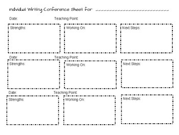 Individual Writing Conference Form