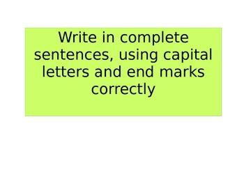 Individual Writing Goals
