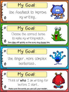 Individual Writing Goals - 70 Writing Goal Bookmarks