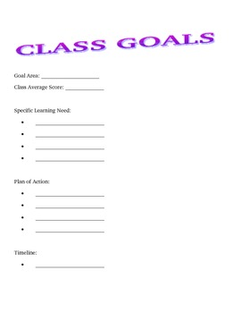 Individual and Class Goal tracking sheets