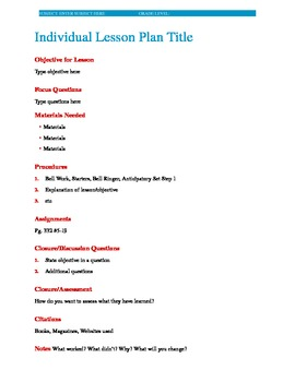 Individual and Unit Lesson Plan Template