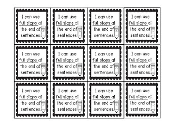 Individual writing goal cards
