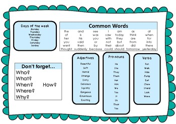 Individual writing prompt - with key words, verbs, adjectives and pro-nouns