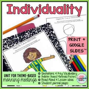 Individualism Activities   Individualism Morning Meeting Theme in Literature
