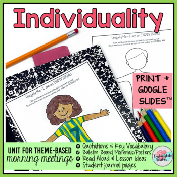 "Morning Meeting Activities for Individualism ""Be Yourself"""