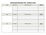 Individualized Education Plan (IEP) Academic Goals Tracker
