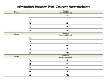 Individualized Education Plan (IEP) Classroom Accommodations Tracker
