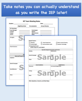 Individualized Education Plan Team Meeting Notes: IEP