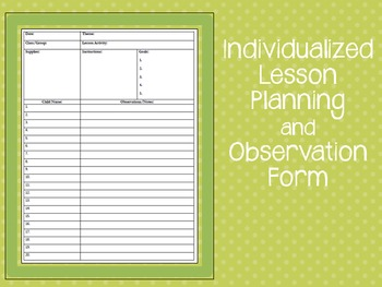 Individualized Lesson Planning and Observation Form