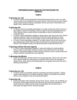 Individualized Progress Report comments for Core French (Gr 1-8) - Fall/Term 1