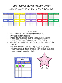 Individualized Reward Charts {Star Themed}