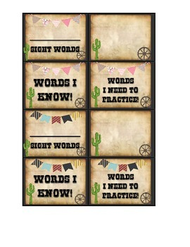 Individualized Sight Word Rings Kindergarten Sight Words Western Theme