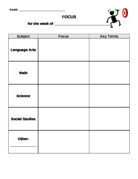 Individualized Weekly Focus Goal Sheet