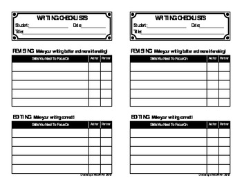 Individualized Writing Checklists for Revising and Editing