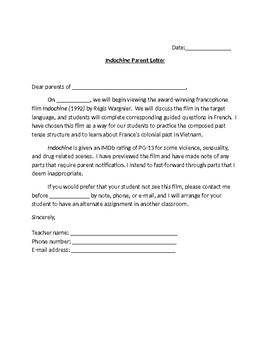 Indochine - Parent letter