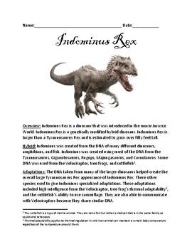 Indominus Rex - hybrid fictional dinosaur from Jurassic Wo