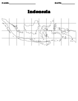 Indonesia Coordinate Grid Map Blank