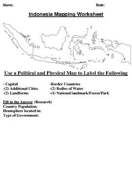Indonesia Mapping Worksheet w/ Oceania Word Search