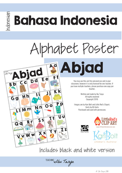Indonesian Alphabet Poster | Abjad Bahasa Indonesia