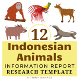Indonesian Animals Unit: Research Templates (12 animals na