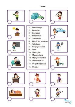 Indonesian Daily Routines NO PREP Packet (Poster, Flash Cards, Worksheets)