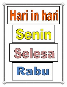 Indonesian Days of The Week poster