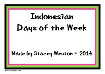 Indonesian Days of Week Cards
