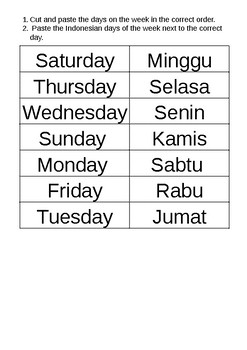 Indonesian Days of the Week