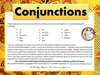 Indonesian-English Prepositions & Conjunctions Word Wall