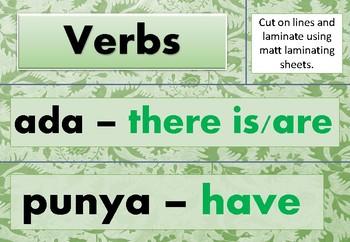 Indonesian - English Word Wall Verbs 1 - GREEN