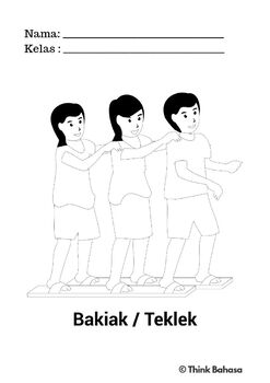 Indonesian Independence Day Colouring Page (Traditional Game: Bakiak)