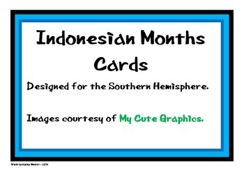 Indonesian Month Cards - Southern Hemisphere Theme