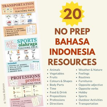 Indonesian NO PREP Teaching Bundle Posters, Flashcards, Worksheets, Answer Keys