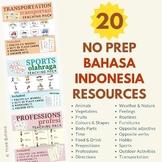 Indonesian NO PREP Teaching Bundle Posters, Flashcards, Wo
