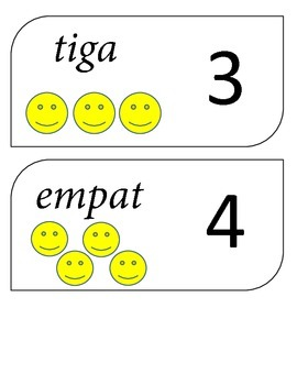 Indonesian Numbers 1 - 10 flash cards