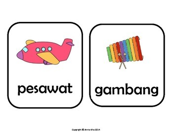 Indonesian Pictures Cards and worksheets