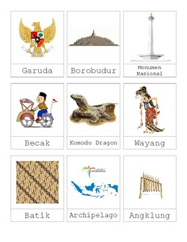 Indonesian Theme Nomeclature Cards