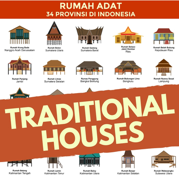 Indonesian Traditional Houses Poster Rumah Adat Indonesia 34 Provinsi