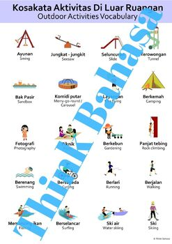 Indonesian Types of Sports NO PREP Packet (Poster, Flash Cards, Worksheets)