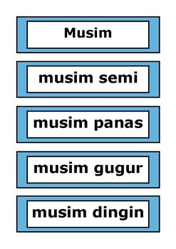 Indonesian Word Wall - Days of the Week, Months of the Year, Seasons