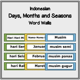 Indonesian Word Wall - Days of the Week, Months of the Yea