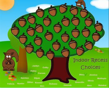 Indoor Recess Activity Choices Squirrel Theme